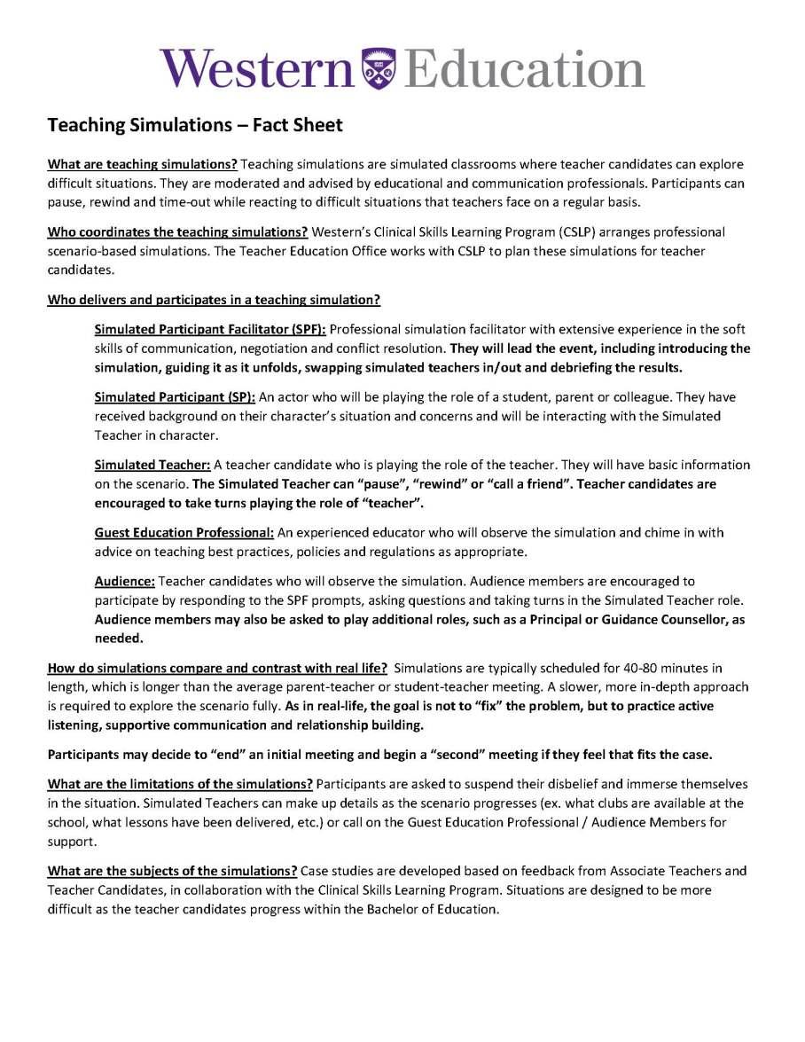 01-08-2019 - Year 1 Simulation Fact Sheet
