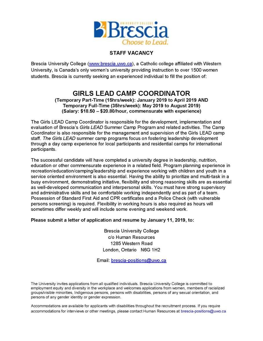 girls lead camp coordinator job posting