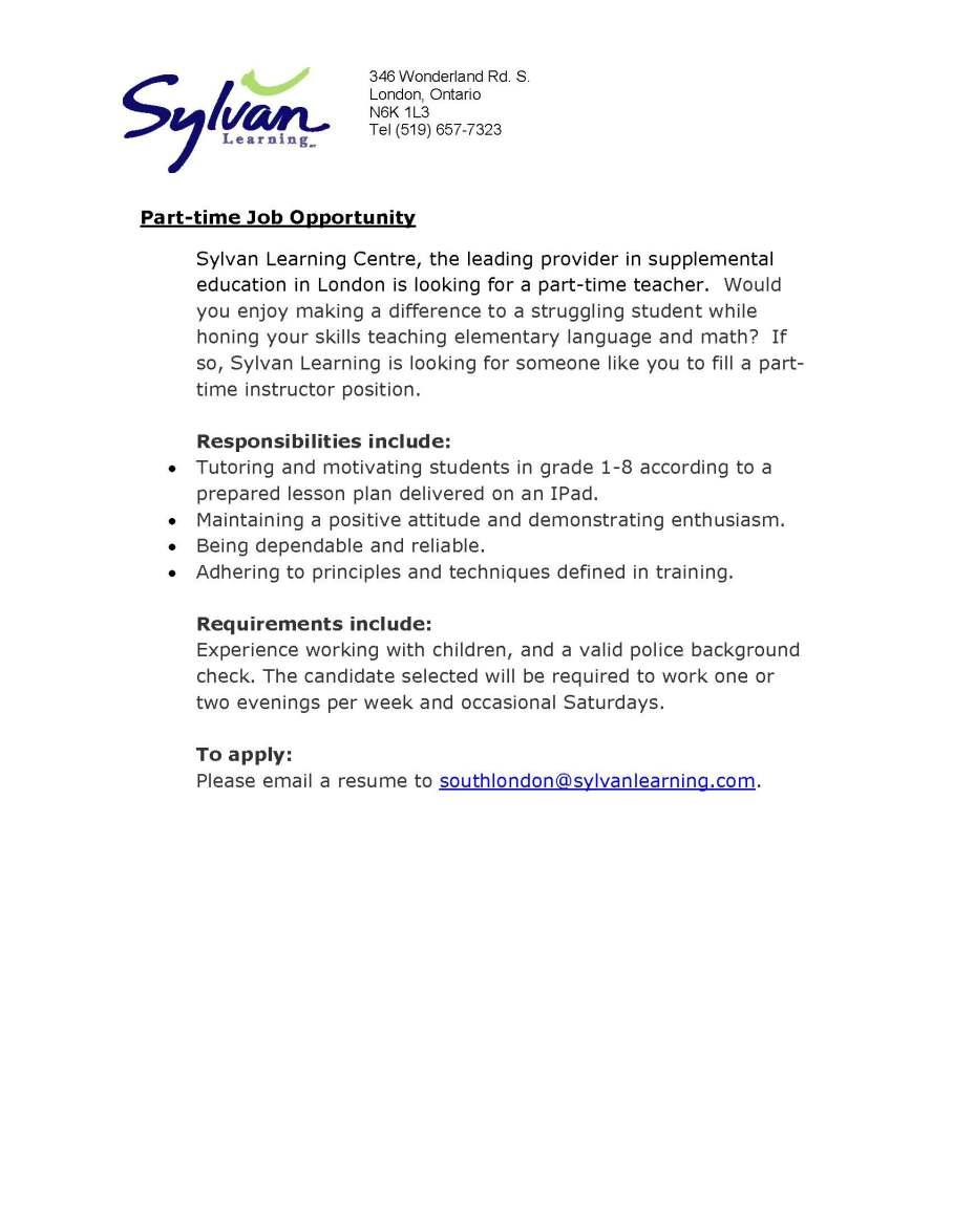 Sylvan instructor job posting