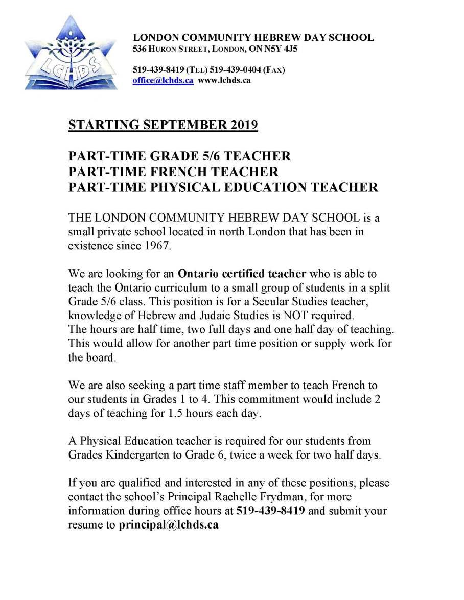 Hebrew Day School Teaching Opportunity 2019.jpg
