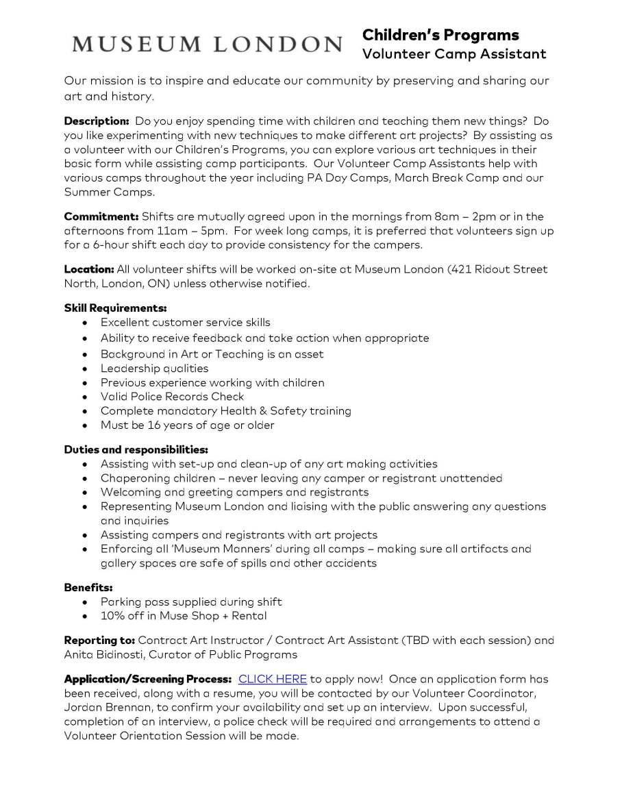 Museum London Camp Assistant - Volunteer Description (revised May 2019)
